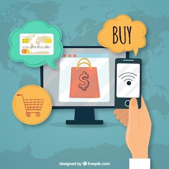 Conceito de pagamento on-line, compras na internet