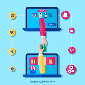 Conceito de pagamento on-line, dois computadores