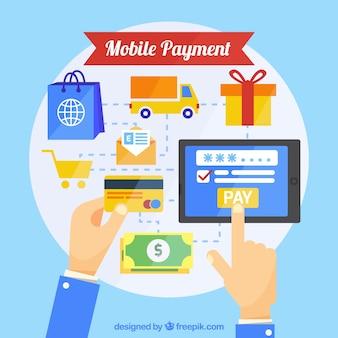 Conceito de pagamento on-line, ícones dentro de um círculo
