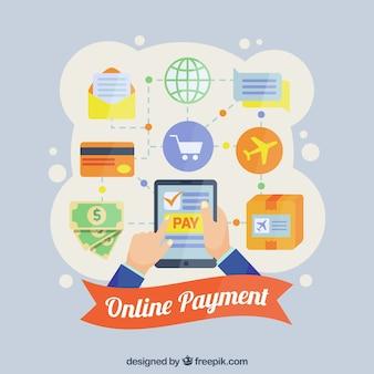 Conceito de pagamento on-line, ícones