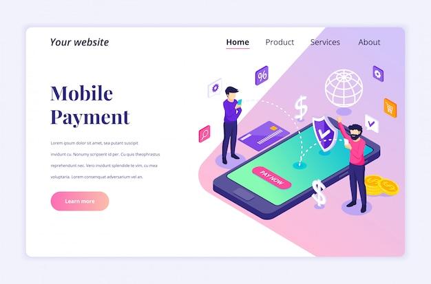 Conceito de pagamento on-line, transferência de dinheiro, as pessoas estão fazendo um modelo de página de destino isométrica de transação on-line