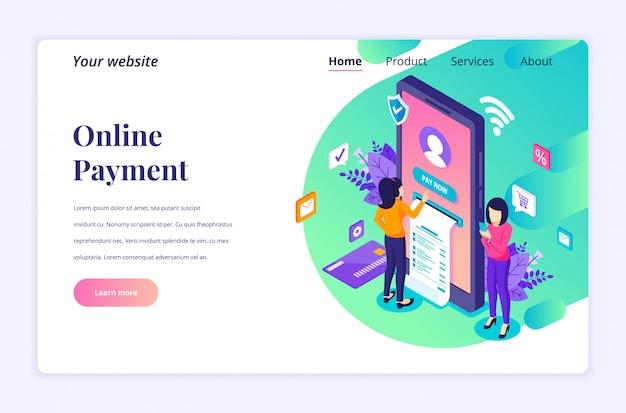 Conceito de pagamento on-line, transferência eletrônica de dinheiro com modelo de página de destino isométrica de caracteres