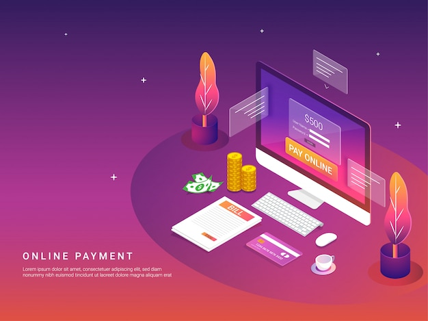 Conceito de pagamento on-line.
