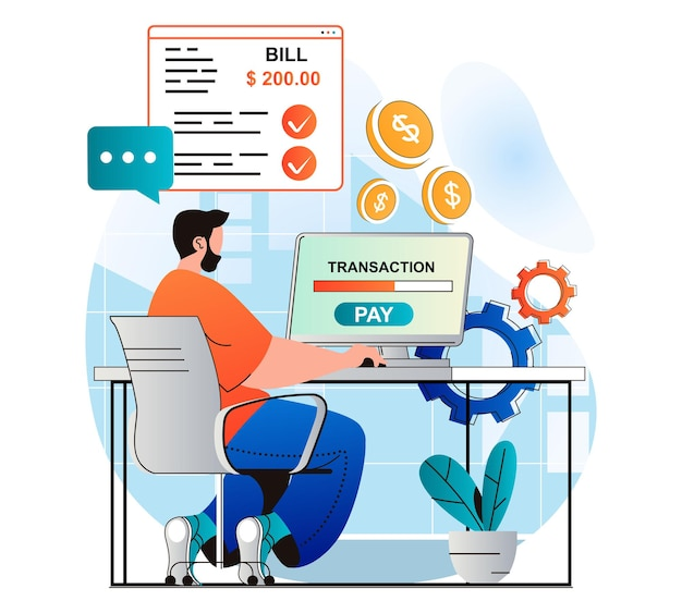 Conceito de pagamento online em design plano moderno. homem realiza transações financeiras online