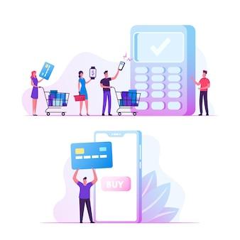 Conceito de pagamento online. ilustração plana dos desenhos animados