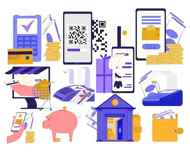 Conceito de pagamento online, isolado em ilustração vetorial de conjunto branco, moedas de dinheiro, aplicativo de banco na internet, cartão de visita e terminal.