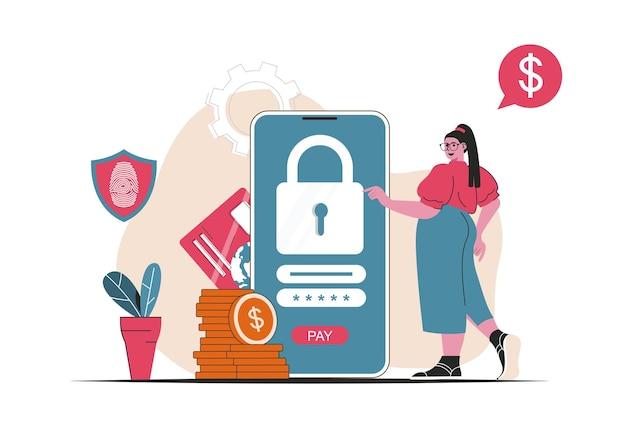 Conceito de pagamento seguro isolado. proteção de transações financeiras em aplicativo móvel. cena de pessoas no design plano dos desenhos animados. ilustração vetorial para blog, site, aplicativo móvel, materiais promocionais.