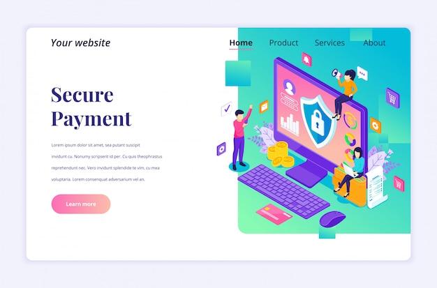 Conceito de pagamento seguro, modelo de página de destino isométrica de proteção de transferência de dinheiro