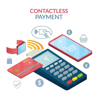 Conceito de pagamento sem contato, sem fio