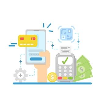 Conceito de pagamentos online e móveis. transferência de dinheiro, carteira móvel.