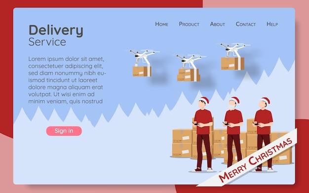 Conceito de página da web de serviço de entrega online pedido online por tecnologia moderna