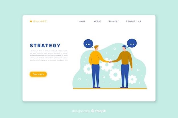 Conceito de página de aterrissagem com estratégia de negócios