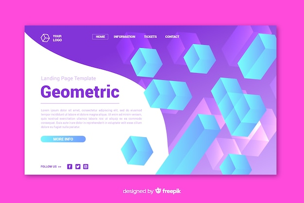Conceito de página de aterrissagem com formas geométricas