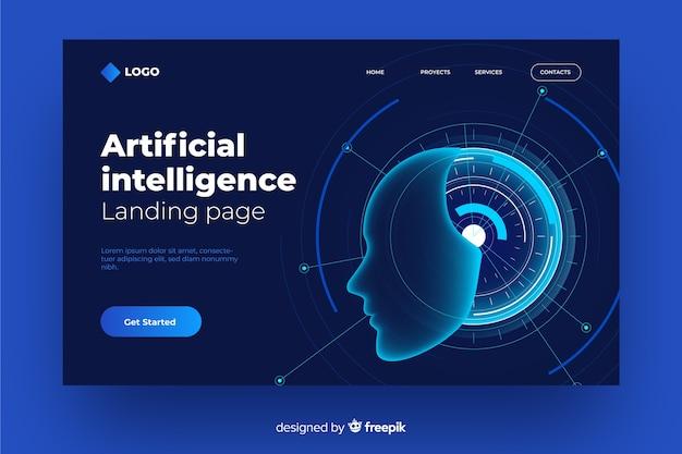Conceito de página de destino com inteligência artificial