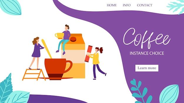 Conceito de página de destino com personagens de fazer café da manhã com leite para bom humor em estilo simples. acorde a ilustração vetorial com pessoas minúsculas para o banner da web. Vetor Premium