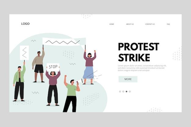 Conceito de página de destino da greve de protesto