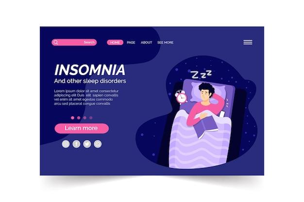 Conceito de página de destino da insomnia