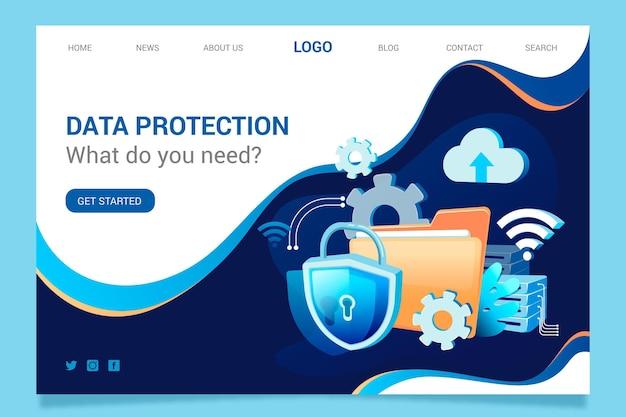Conceito de página de destino da proteção de dados