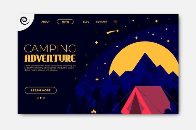 Conceito de página de destino de acampamento