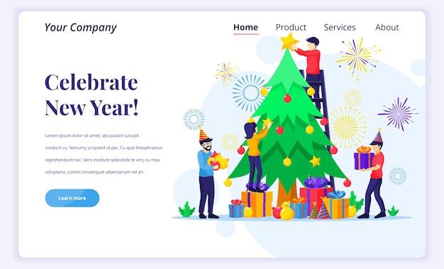 Conceito de página de destino de comemorar o ano novo.