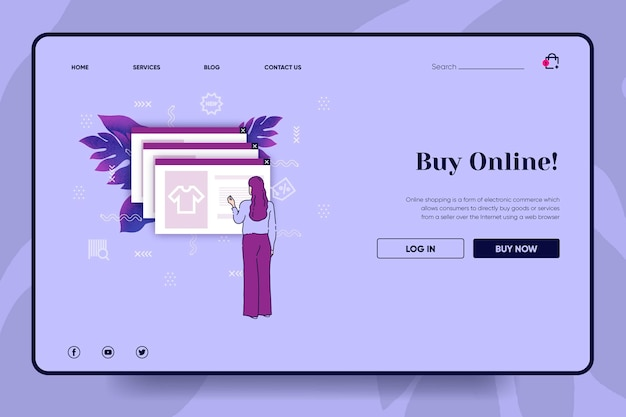 Conceito de página de destino de compras on-line