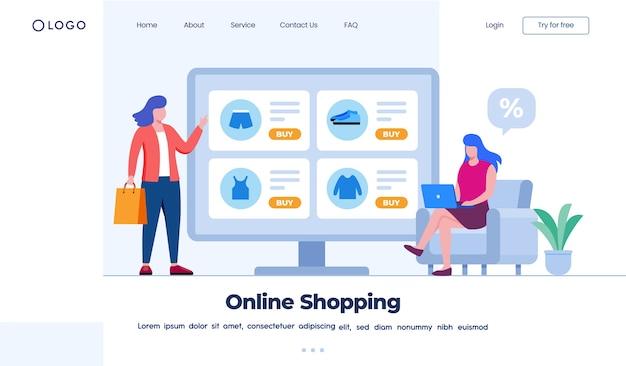 Conceito de página de destino de compras online