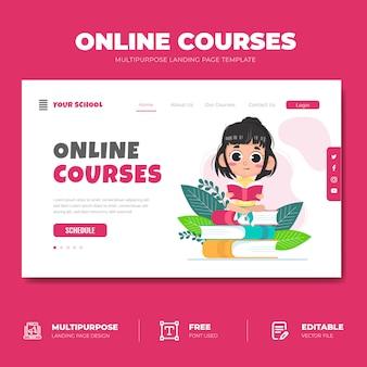 Conceito de página de destino de cursos on-line