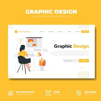 Conceito de página de destino de design gráfico