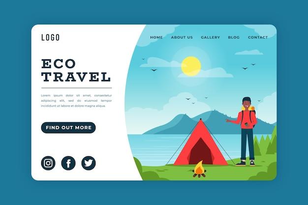 Conceito de página de destino de ecoturismo
