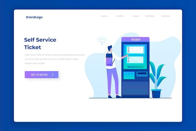 Conceito de página de destino de ilustração de serviço de auto-bilhete