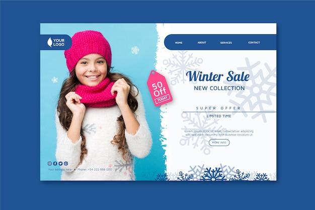 Conceito de página de destino de inverno