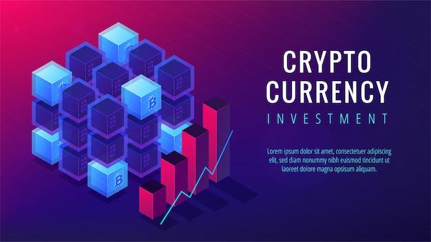 Conceito de página de destino de investimento de criptomoeda isométrica.