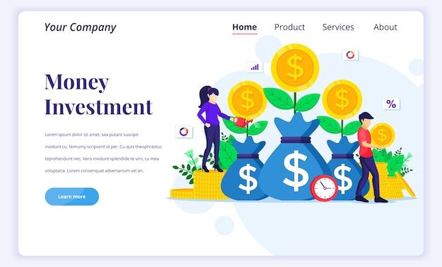 Conceito de página de destino de investimento de dinheiro