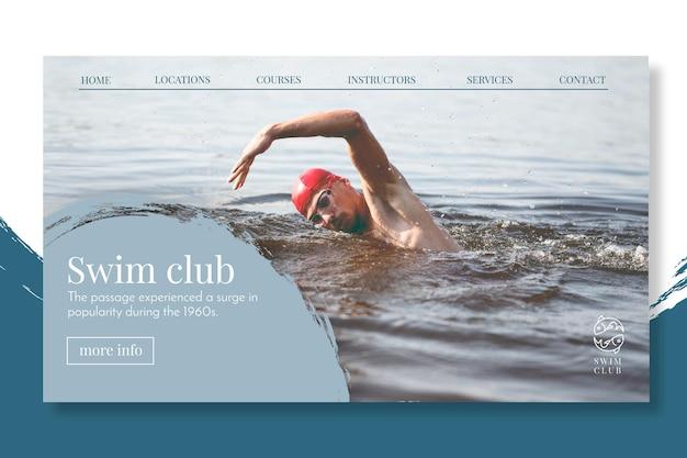 Conceito de página de destino de natação