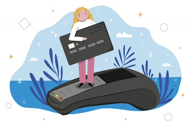 Conceito de página de destino de pagamento com cartão de crédito
