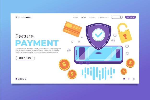 Conceito de página de destino de pagamento seguro
