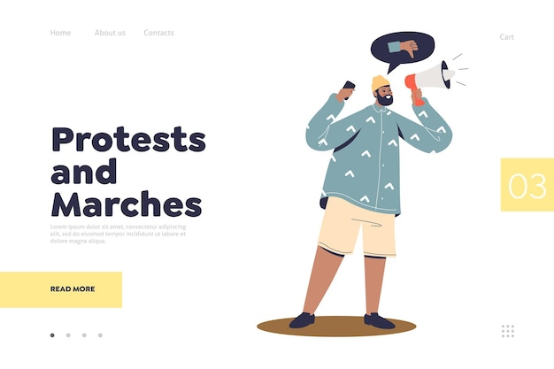 Conceito de página de destino de protestos e marchas com ativista em protesto
