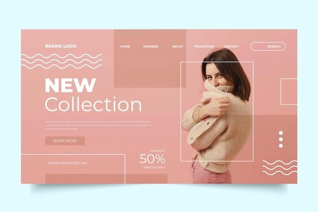 Conceito de página de destino de venda de moda