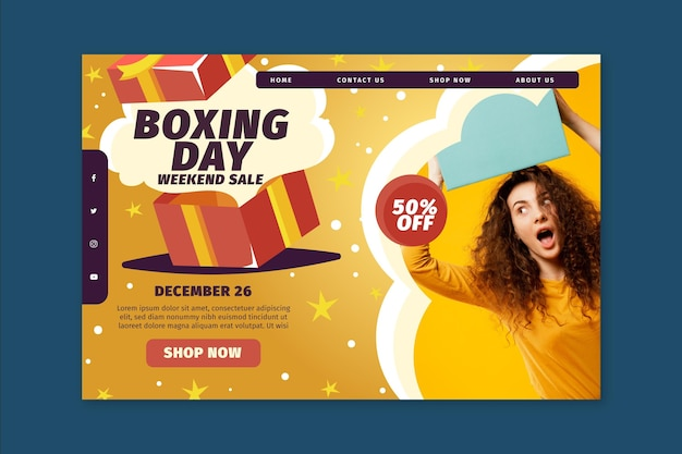 Conceito de página de destino do boxing day
