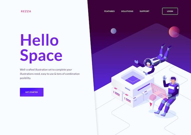 Conceito de página de destino do espaço