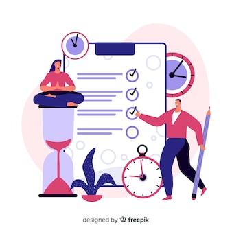 Conceito de página de destino do gerenciamento de tempo