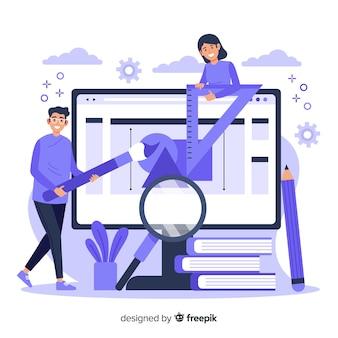Conceito de página de destino do processo de design