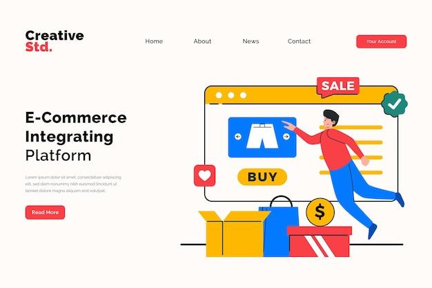 Conceito de página de destino do site da plataforma de comércio eletrônico