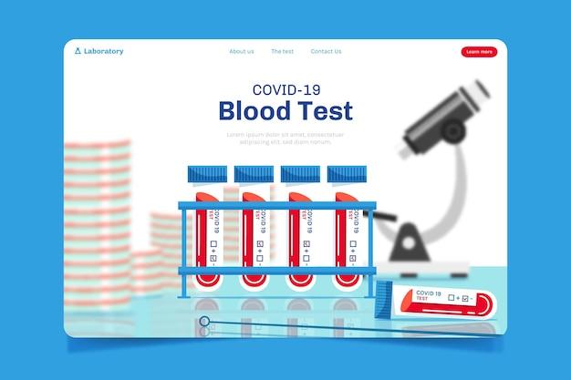 Conceito de página de destino do teste covid-19