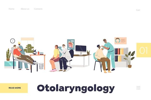 Conceito de página de destino em otorrinolaringologia com verificação do nariz, garganta e orelha do paciente pelo otorrinolaringologista