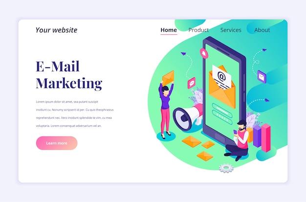 Conceito de página de destino isométrica de serviços de marketing por e-mail, pessoas perto de um smartphone gigante