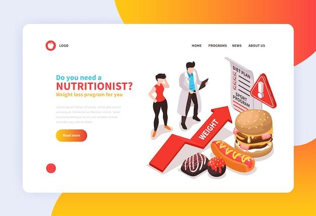 Conceito de página de destino isométrica nutricionista nutricionista para website com texto de links clicáveis e pessoas com alimentos não saudáveis