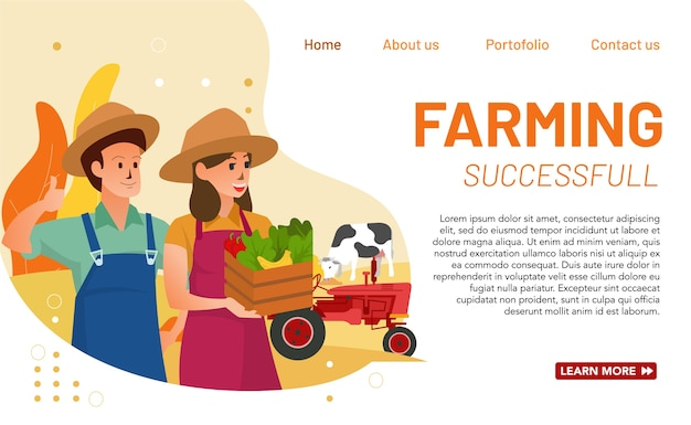 Conceito de página inicial da agricultura bem-sucedida. conceito simples, moderno e novo de agricultura de sucesso para as necessidades do site e outras necessidades do site