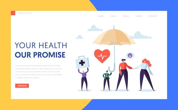 Conceito de página inicial do seguro de saúde médico.