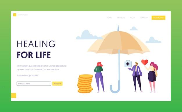 Conceito de página inicial do seguro de vida médico familiar.